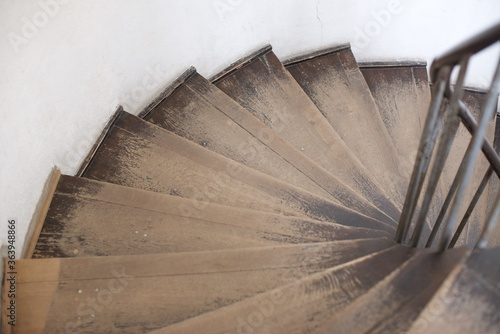 High Angle View Of Spiral Stairs Canvas-taulu