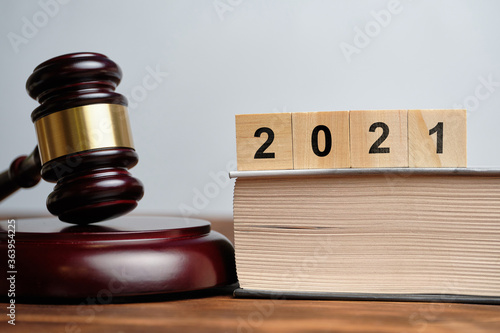 Obraz na plátně The concept of new laws in 2021 next to the judge hammer