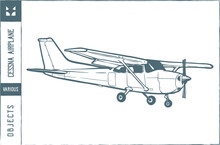 Cessna Airplane Vector Illustration - Hand Drawn - Out Line