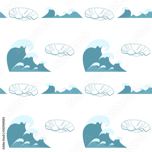 Fotografie, Tablou Wave symbols and seashell, seamless set vector isolated on white background,