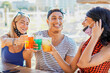 People having a party in a beach with face mask - Young people drinking cocktails in coronavirus time - Friends having fun in bar - New lifestyle concept