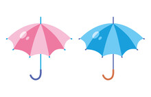 Pink And Blue Umbrella Flat Is...