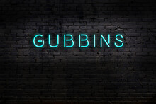 Neon Sign. Word Gubbins Agains...