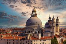 Church Domes Against Sunset Sky