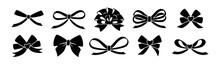 Ribbon Bow Black Glyph Set. Va...