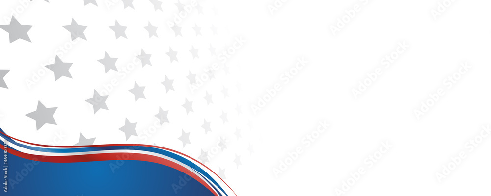 Fototapeta Web banner with elements of the American national flag, many stars. Decorative USA banner suitable for background, headers, posters, cards, website. Vector illustration