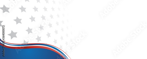 Fototapeta Web banner with elements of the American national flag, many stars. Decorative USA banner suitable for background, headers, posters, cards, website. Vector illustration obraz