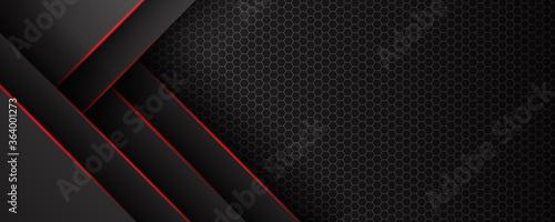 Fényképezés Abstract black grey metallic overlap red light hexagon mesh design modern luxury futuristic technology background vector illustration