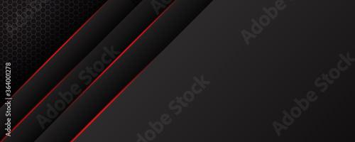 Vászonkép Abstract black grey metallic overlap red light hexagon mesh design modern luxury futuristic technology background vector illustration