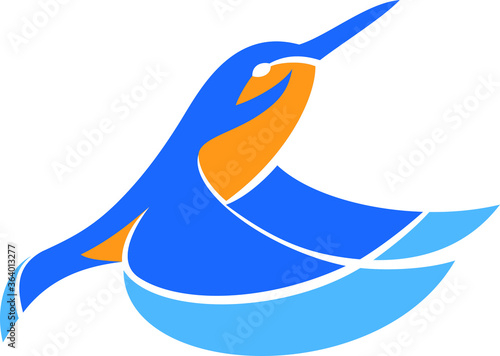 Leinwand Poster Simple Vector of Kingfisher Flying Up from the Water