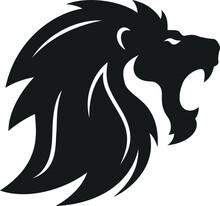 Simple Design Of Lion Head Roaring Vector