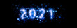 canvas print picture - 夜空に光輝く2021の形の抽象的な星