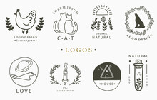 Beauty Occult Logo Collection With Hand, Flower,house,cat,mountain.Vector Illustration For Icon,logo,sticker,printable And Tattoo