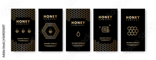 Slika na platnu Raster set of social media stories Honey gold gradient honey bee, honeycombs, honey stick, beehive