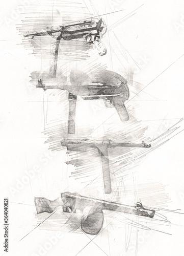Revolver, hand drawn vintage gun illustration. Engraving style old pistols set