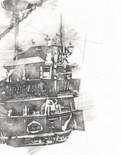 Pirate Ship Sailing On The Sea Illustration Art Drawing Sketch Vintage