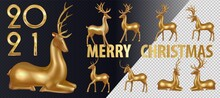 Big Set Gold Deer. Merry Christmas Happy New Year Deer Greeting Card Illustration, Realistic 3d Solid Gold Reindeer On White Background With Festive Typography Quote And Blur Lights.