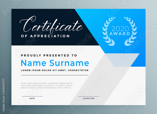 Fototapeta certificate of appreciation blue professional template design obraz