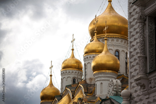 Cathedral Square, Moscow, Russia, It surround with great cathedrals as they have for many centuries, the domes of these legendary churches shine with gold