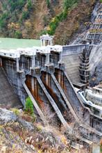 Unazuki Dam, Kurobe, Japan. Th...