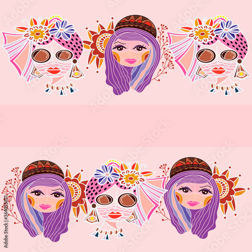 Fototapeta cute girls wear mask seamless pattern design. Great feminine fabric, scrapbooking, wallpaper, giftwrap. Suraface pattern design obraz na płótnie