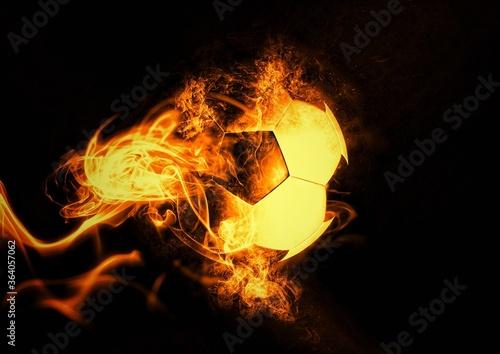 炎に包まれたサッカーボールの3Dイラスト
