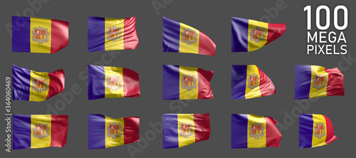 Photo 14 different realistic renders of Andorra flag isolated on grey background - 3D