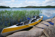 A Kayak At The Lake In Ladoga ...