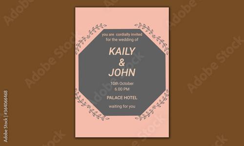 Valokuvatapetti Simple wedding invitation card template design
