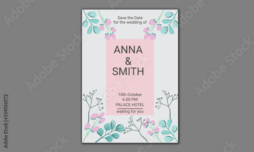 Fényképezés Wedding invitation card template design