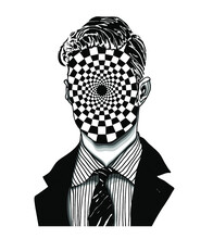 Abstract Portrait Of A Strange Handsome Man With Anonymous Face With Vortex Checkered Pattern In Modern And Surreal Tattoo Art. Isolated Vector Illustration.