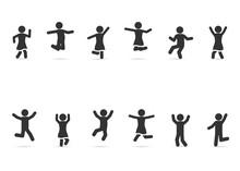 Vector Set Of People Happy, Joyful, Jumping, Dancing, Fun, Celebrating, Successful.