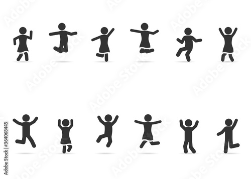 Obraz na plátne Vector set of people happy, joyful, jumping, dancing, fun, celebrating, successful