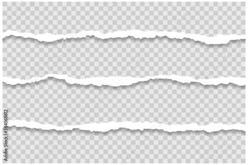 Fototapeta three long piece of torn papers transparent background obraz
