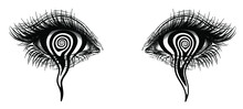 Isolated Vector Illustration Of Realistic Human Eye Of A Girl With Crying A Spiral Hypnotic Iris.
