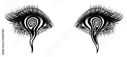 Fototapeta premium Isolated vector illustration of realistic human eye of a girl with crying a spiral hypnotic iris.