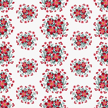 Seamless Red And Pink Peony Flowers Pattern Background, Floral Vector Artwork For Apparel And Fashion Fabrics.