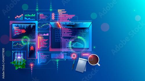 Fotografía Concept of programming, coding computer software