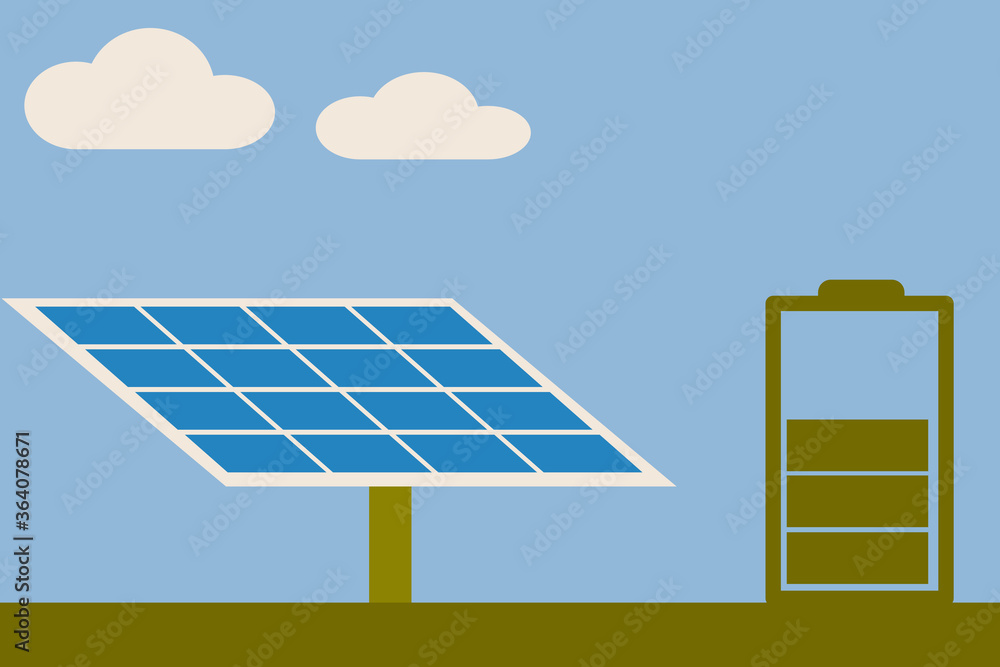 Fototapeta renewable energy concept.The solar cell generate electricity to charge battery for using in night time
