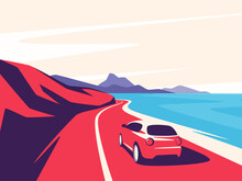 Vector Illustration Of A Red Car Moving Along The Ocean Mountain Road