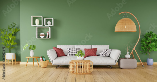 Obraz Modern home decor with stylish sofa and rattan furniture on green wall background, 3d rendering - fototapety do salonu