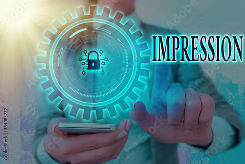 Obraz Writing note showing Impression. Business concept for an idea and feeling or opinion about something or someone Graphics padlock for web data information security application system - fototapety do salonu