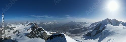 Canvastavla Panorama sulle Alpi - Monte Rosa montagne
