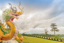 Yellow Dragon Head At Wat Huay Pla Kang, Bublic Chinese Temple In Chiang Rai Province, Thailand With Dramatic Blue Sky Background.