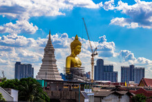 Background Of A Large Buddha Statue In Bangkok (Wat Pak Nam Phasi Charoen), Over 69 Meters In Height, Stands Majestically In The Capital, A Historical And Cultural Attraction That Tourists Come To See
