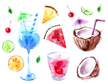 Hand Drawn Watercolor Food And Drink Illustration