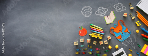 Fototapeta education. Back to school concept over blackboard background. top view, flat lay obraz