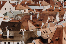 Close Aerial Shot Of Red Rooft...
