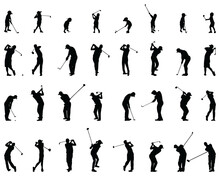 Black Silhouettes Of Golf Players On A White Background
