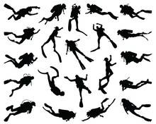 Black Silhouettes Of Divers On A White Background